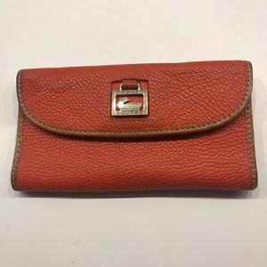 Dooney & Burke orange leather checkbook wallet